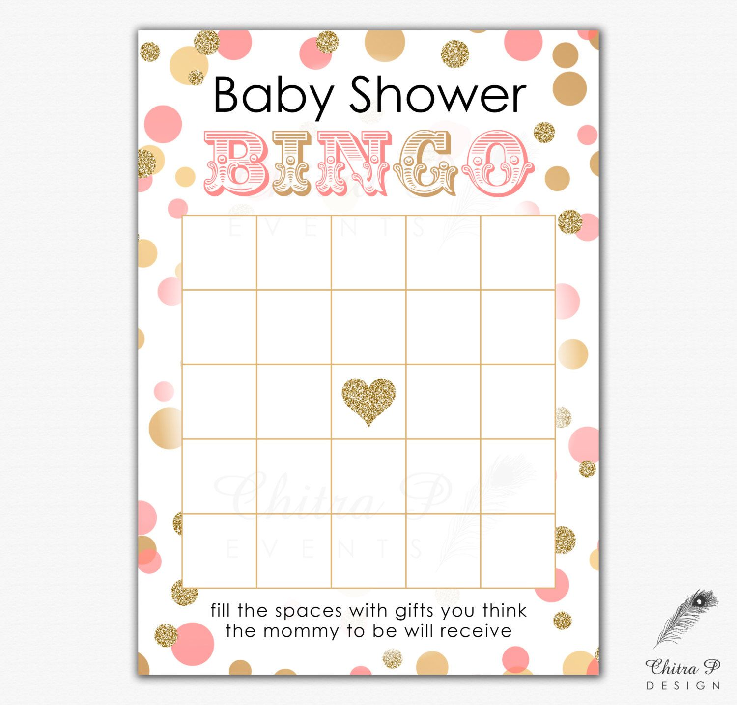 Pink Amp Gold Baby Shower Bingo Card