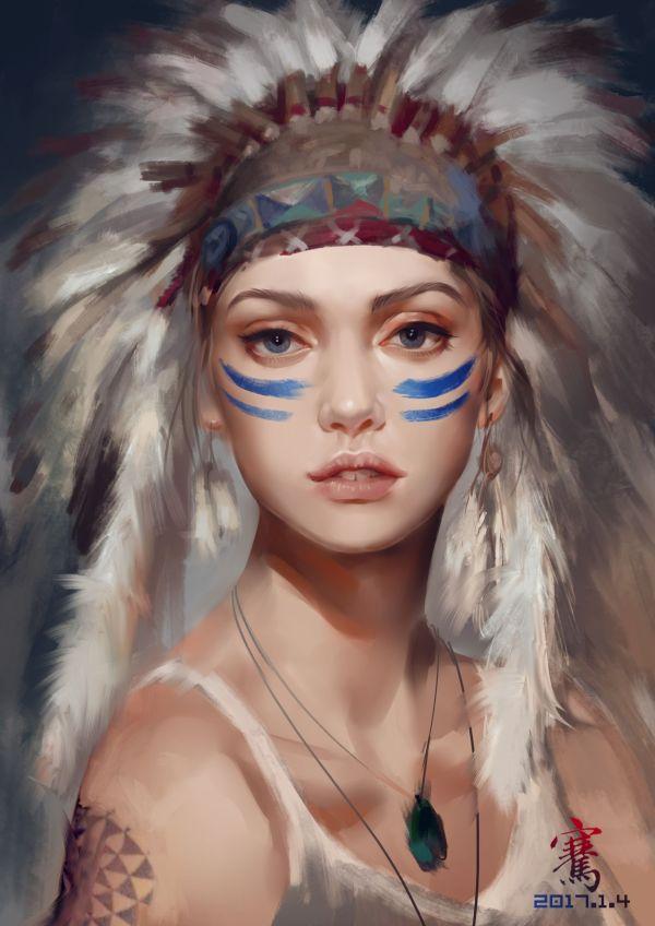 Native American Indian Girl Drawings
