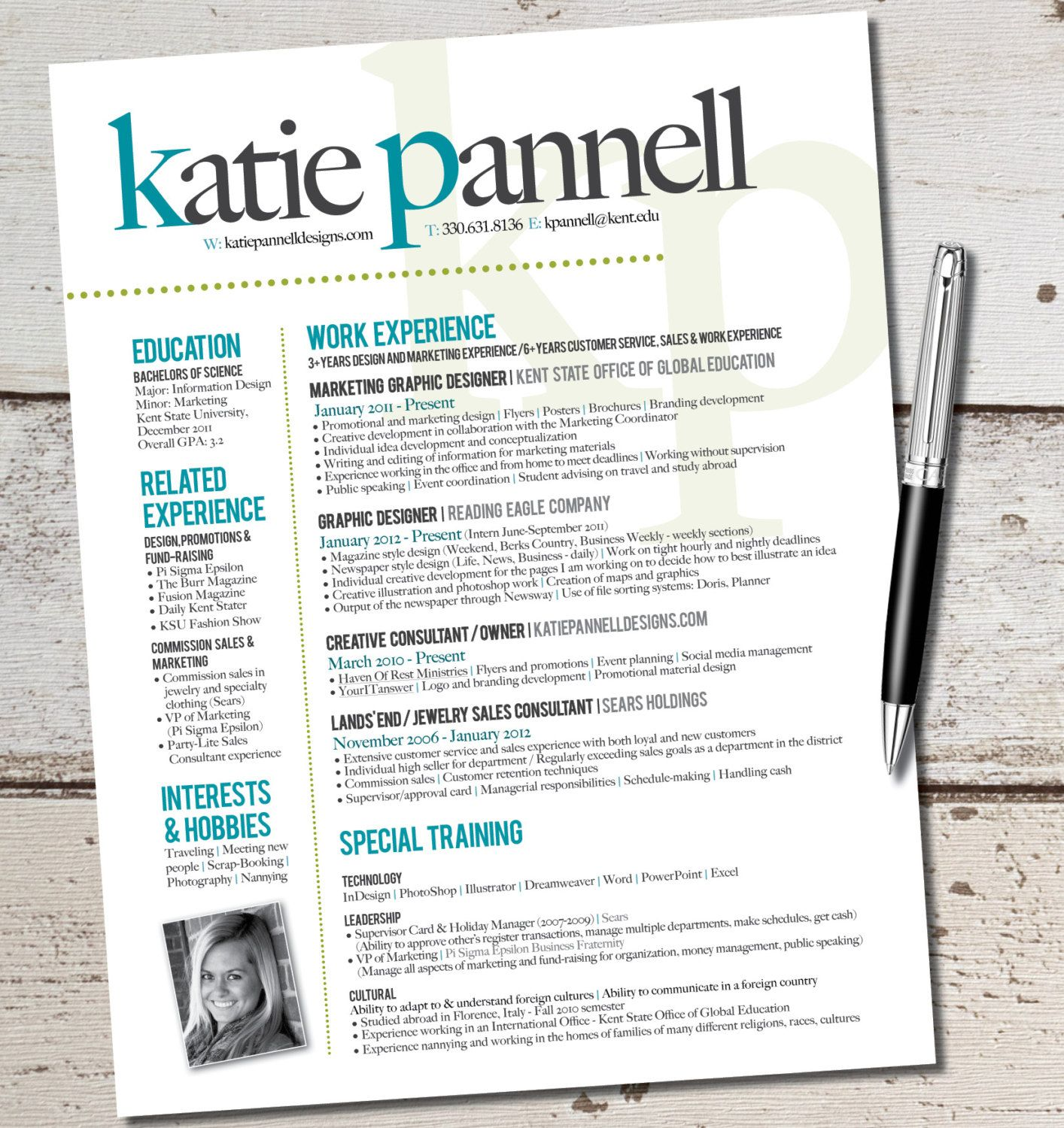 Graphic Design Student Resume The Katie Lyn Signature Resume Template Design By