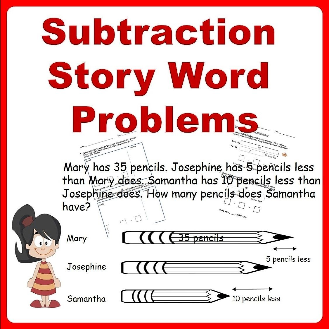 Subtraction Story Word Problems Bar Models