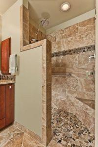 Bathroom remodel with doorless, walk