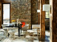 Rustic stone adds texture to this modern space - Modern ...
