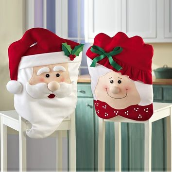 christmas chair covers pinterest potty chairs for seniors 2pcs mr mrs santa claus indoor decorations kitchen dinner banquet 1946505028