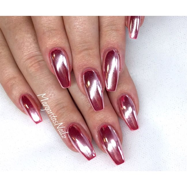 Rose Chrome Coffin Nails