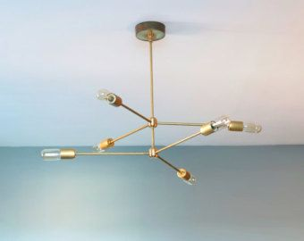 The Annunciation Chandelier 2 Tiered 3 Armed Sputnik In Raw Brass Modern By Null On Etsy
