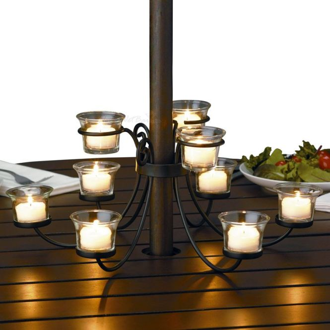 I Ve Been Wanting To Add An Outdoor Candelabra Our Patio Table Candlesoutdoor Chandelierpatio