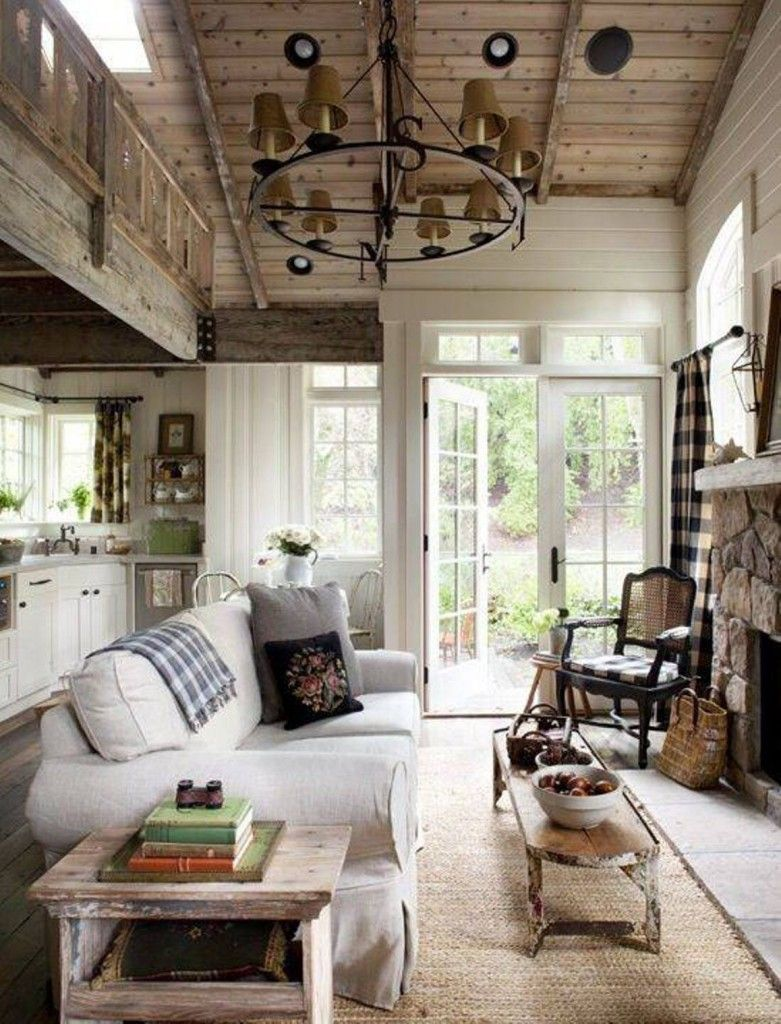 Love This Rustic & Cozy Open Concept Living Room Kitchen