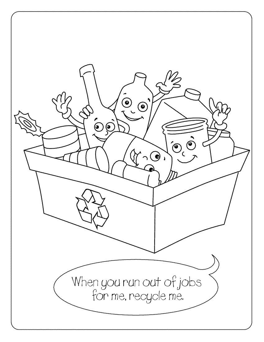 Coloring Pages For Recycle Reduce Reuse Coloring Pages
