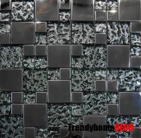 SAMPLE- Stainless Steel Pattern Textured Glass Mosaic Tile ...
