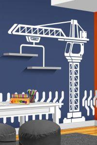 Construction Crane Vinyl Wall Decal - Bedroom, Playroom or ...