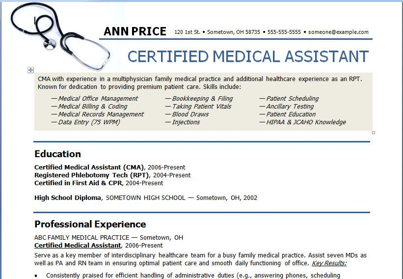 Medical Assistant Resume Template Need To Show This To My
