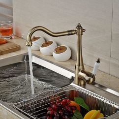 Wholesale Kitchen Faucets Gadgets Store And Retail Promotion Deck Mounted Faucet Antique Bronze Vessel Sink Mixer Tap Ceramic Handles