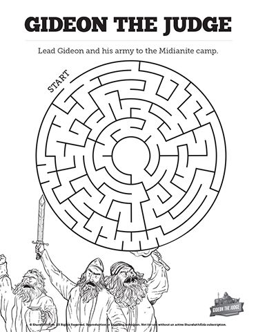 Judges 6 Gideon and the 300 Bible Mazes: Find your way to