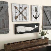 NAUTICAL ART SET, Wooden Nautical Decor, Anchor decor ...