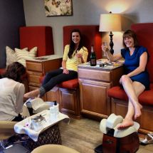 Bridal Party In Spa Pedicure Lounge. Salon