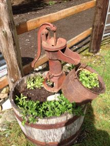 Whiskey Barrel Water Pump And Antique Melting Pot