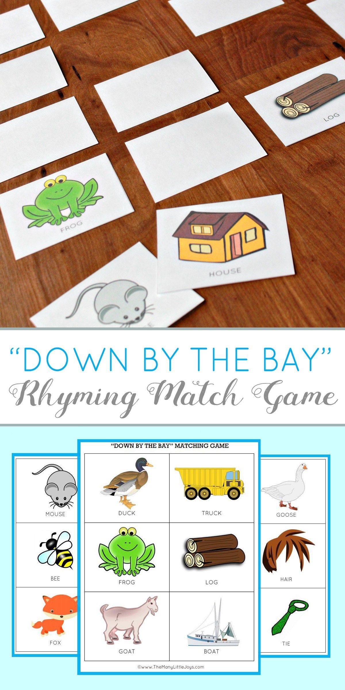 Teaching Kids To Rhyme Rhyming Match Game Free Printable