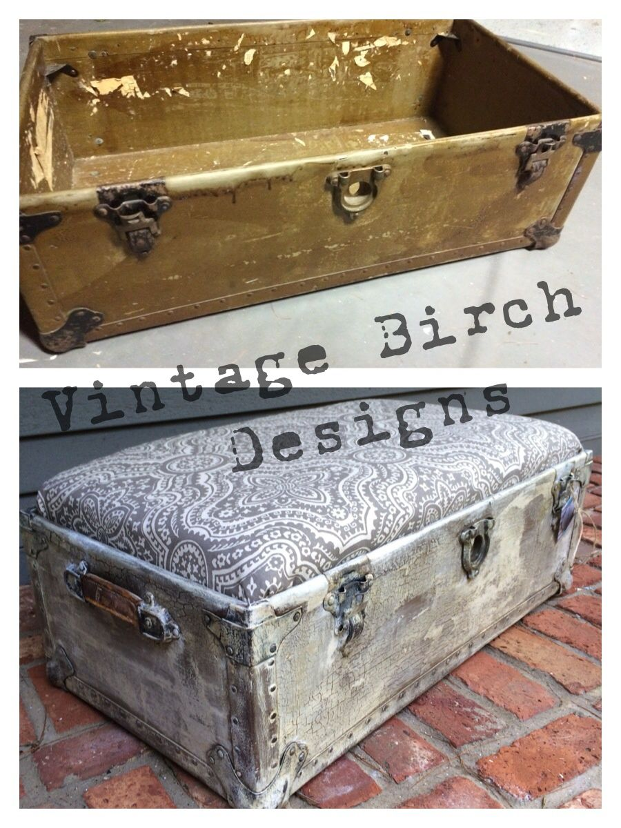 A Simple Wash Of Vintage White Helped Transform This Old Trunk Into A Chic Functional New