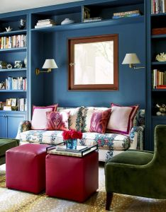 Reading nook with stark antelope carpet jasper   malmaison fabric sofa green chairs and teal blue walls design by chloe warner also tips for creating  beautiful library house room interiors rh pinterest