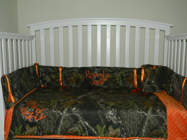 Camo Mossy Oak and Orange minky dot baby Crib Bedding Set