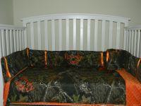 Camo Mossy Oak and Orange minky dot baby Crib Bedding Set ...
