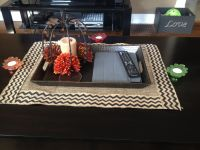 Burlap coffee table runner. Use PUL fabric underneath. To ...