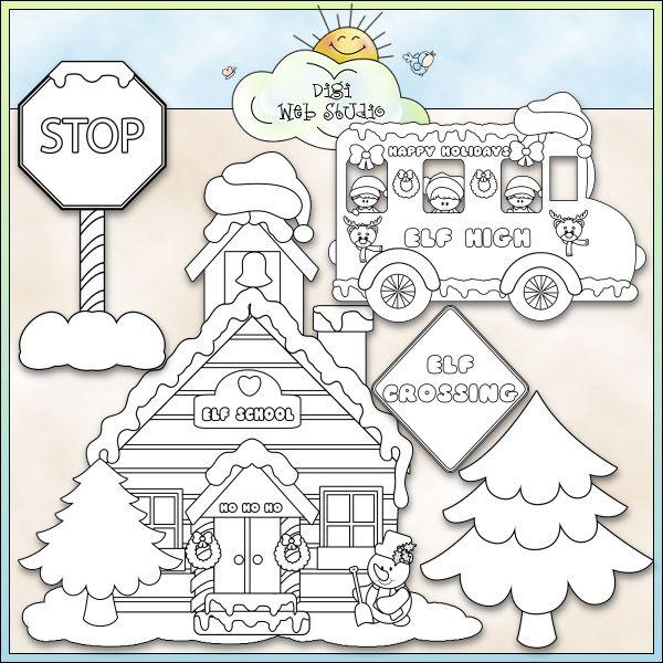 Christmas Village Santa39s Elves School Bus NE KWD