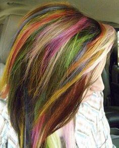 Neon Rainbow Emo Hair Google Search Color Crazy Pinterest