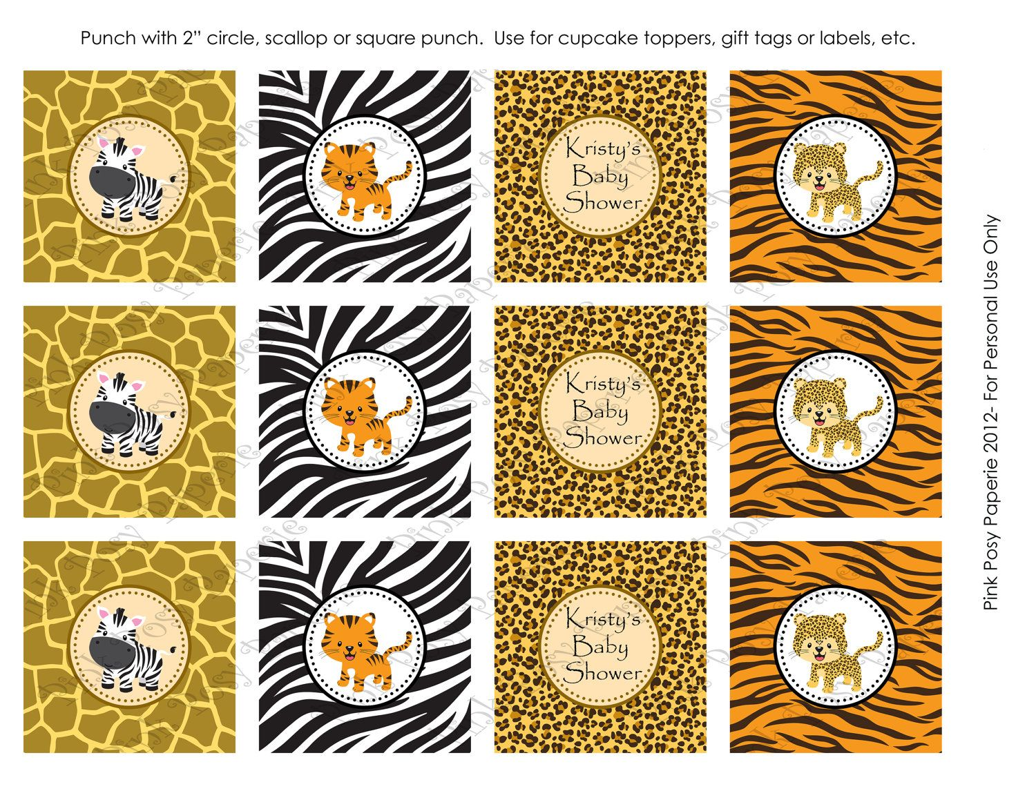 Printable Safari Baby Shower Cupcake Toppers By