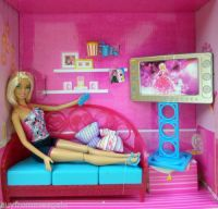 Barbie Living Room Girls Night In Doll Furniture Pink Sofa