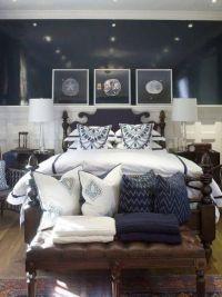 navy blue coastal bedroom design | Guest bedroom ...