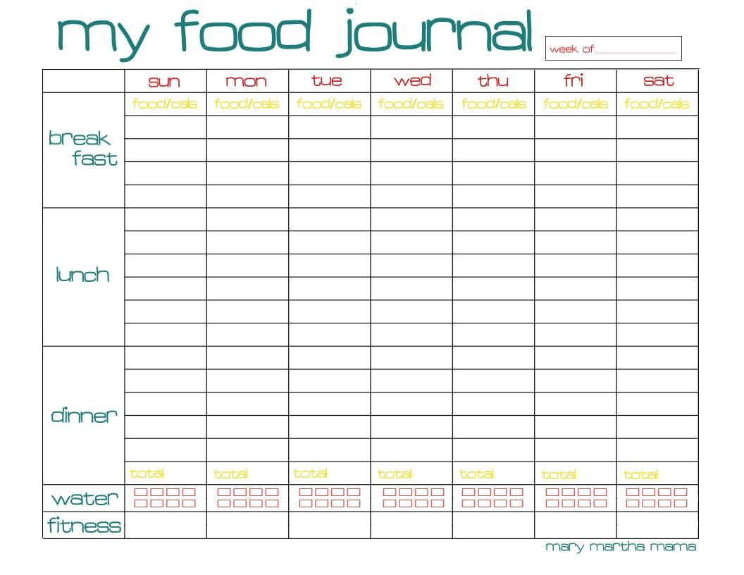 Food Journal Printable For Week