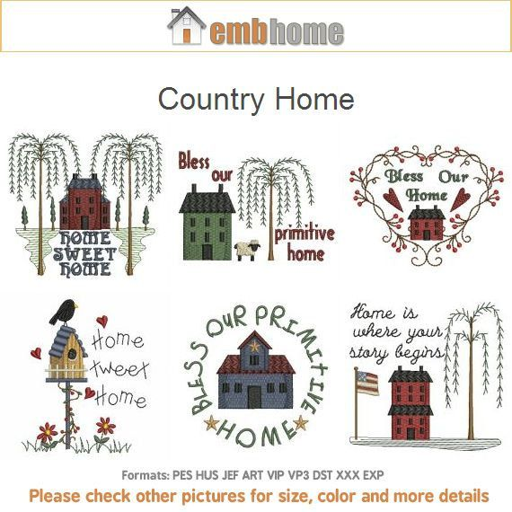 Country Home Primitive Machine Embroidery Designs Pack Instant