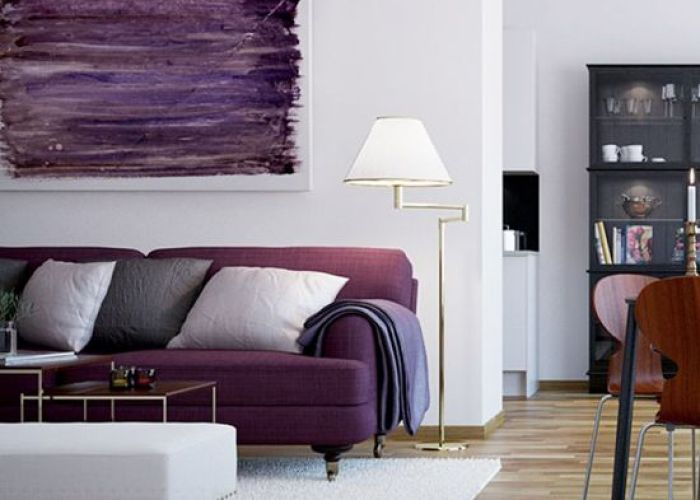 Interior design  cool and stunning scandinavian living purple sofa stylish wall also art in  room decor painting home violet