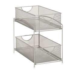 Kitchen Sliding Baskets Lowes Delta Faucet Org 2 Tier Mesh Double Cabinet Basket In Silver