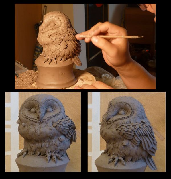 Owls Clay Sculpting Ted Playing Work Pottery