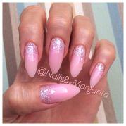 light pink stiletto nails glitter