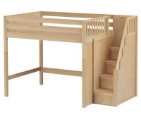 ENORMOUS full size High loft bed with Stairs natural by