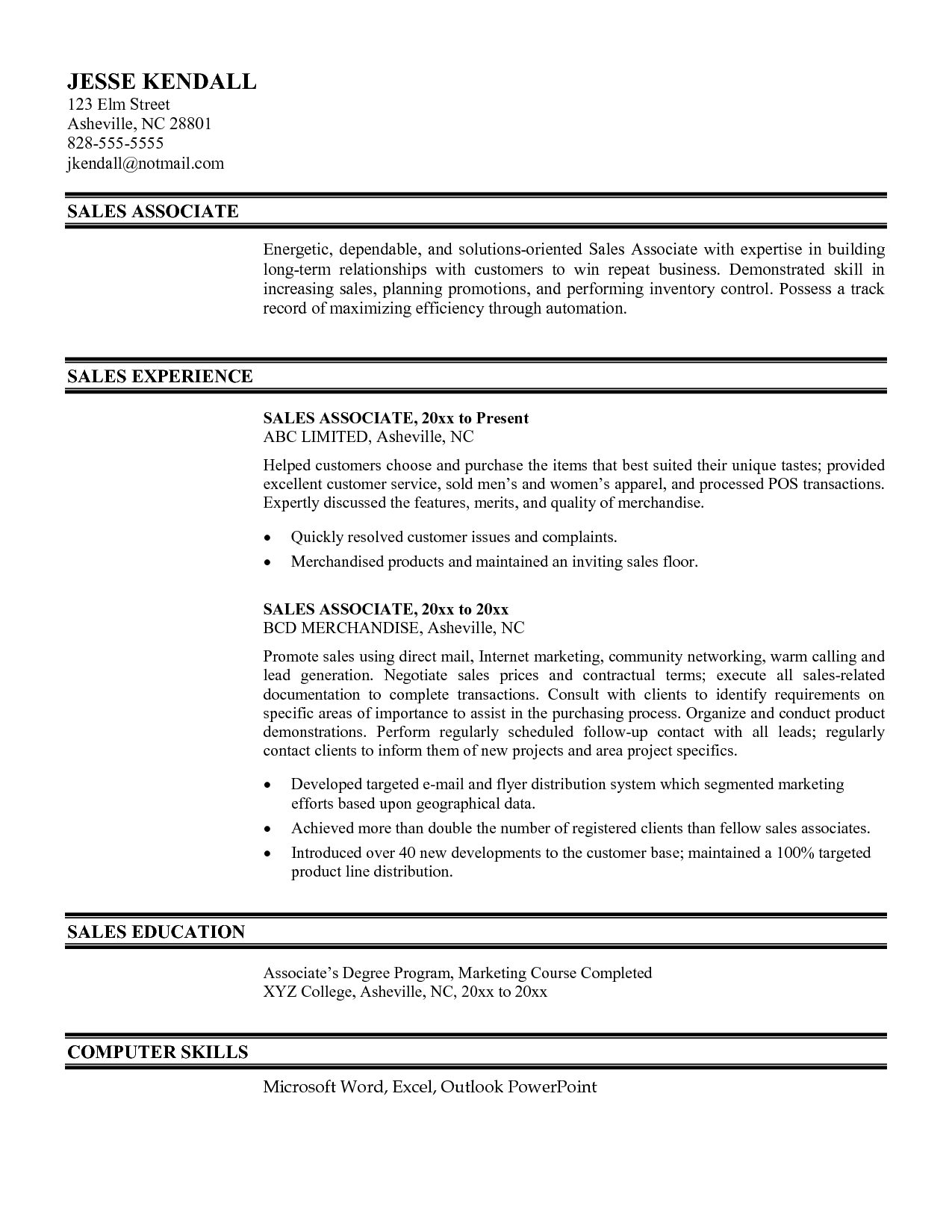Sales Associate Resume Example Resumecareer Info
