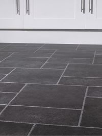 The dark slate color and different size tiles is very cool ...