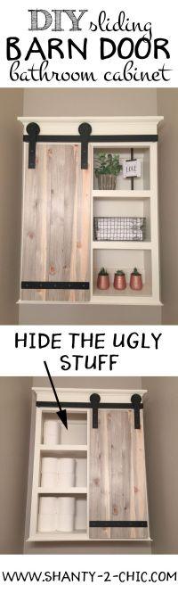 DIY Sliding Barn Door Bathroom Cabinet | Door storage ...
