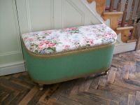 Vintage Lloyd Loom Storage Ottoman, Blanket Box,Floral ...