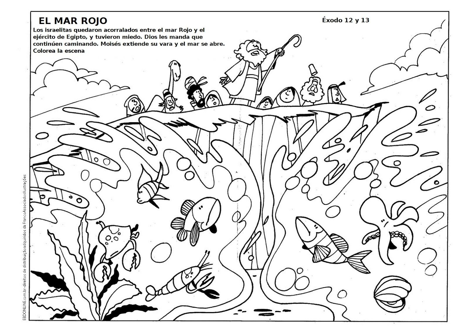 GOOD NEWS FOR KIDS: Coloring. Moses Crossing the Red Sea