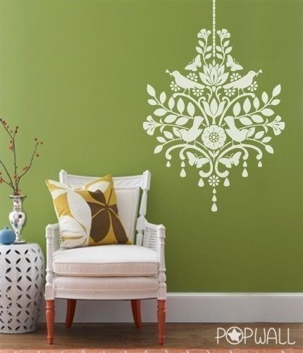 Vinyl Wall Decal Chandelier With Birds 041