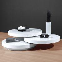 Genesis White High Gloss Round Swiveling Coffee Table ...
