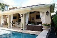 attached covered patio cabana with curtains | Freestanding ...