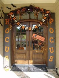 Halloween decorations - front entry door with cute hocus ...