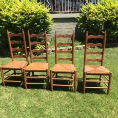 Antique Ladder Back Chairs With Rush Seats Cream Dining Vintage Sturdy Show Minimal Wear