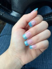 blue glitter acrylic nails french