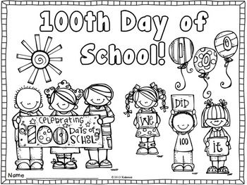 Enjoy this coloring page to use to celebrate 100 days in